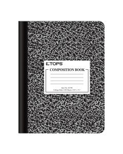 "Oxford® Composition Book, 9-3/4"" x 7-1/2"", College Rule, Black Marble Cover, 100 Sheets"