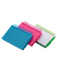 "Spiral Index Cards with Poly Covers, 3"" x 5"", Assorted"