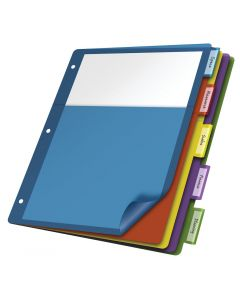 Single Pocket Poly Divider, 5 Tab, Multicolor