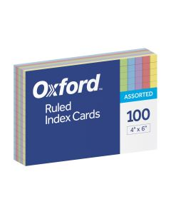 "Oxford® Ruled Colour Index Cards, 4"" x 6"", Assorted Colours, 100 Per Pack"
