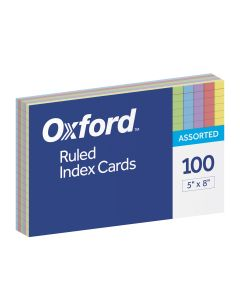 "Oxford® Ruled Colour Index Cards, 5"" x 8"", Assorted Colours, 100 Per Pack"