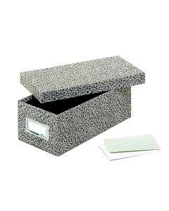 "Fiberboard Index Card Storage Boxes, 3"" x 5"" Card Size, Black, Agate"