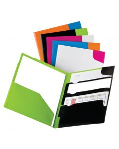 Oxford Divide-It-Up® 4 Pocket Twisted Twin Portfolio, Poly, Assorted Colors, 25 Per Carton