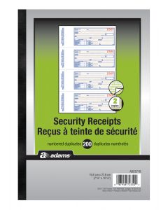 Security Receipt Book 2-Part