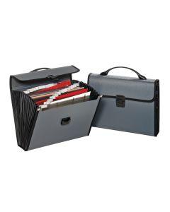 26 Pocket Poly File Case, Gray w/Black, Bilingual