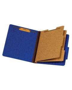 Classification Folders, Moisture Resistant, 2 Dividers, Bonded Fasteners, 2/5 Cut Tab, Dark Blue, Letter, 50 EA/CT