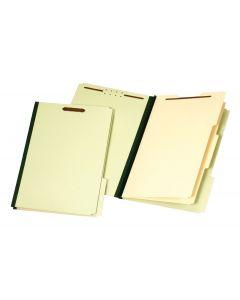 Classification Folders, Standard, 2 Dividers, Embedded Fasteners, 2/5 Cut Tab, Green, Legal, 10 EA/CT