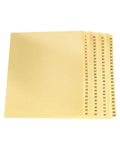 Oxford® Legal Exhibit Index Dividers 1-100, Letter-Size, Buff, 100/ST