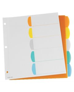 Oxford® Poly Rapidex Colour Coded Tab Dividers 1-5, Letter-Size, Assorted, 5/ST