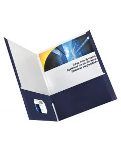 Earthwise™ by Oxford® 100% Recycled High Gloss Twin Pocket Folder, Letter, Navy