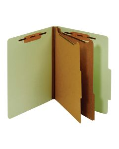 Classification Folders, Standard, 2 Dividers, Bonded Fasteners, 2/5 Cut Tab, Green, Letter,100 EA/CT