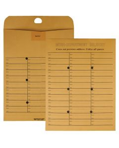 10 x 13 Inter-Departmental Envelopes with Self Seal Reusable Closure for Interoffice Routing, 28 lb. Brown Kraft, 100 per Box