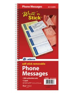 Write 'n Stick®Message Book, 2-Part, Carbonless, 4/PG, 200 ST/BK