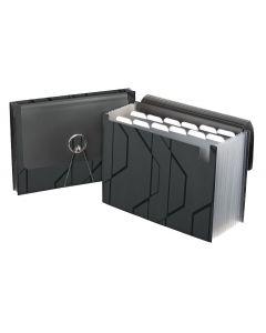 Sliding Cover Expanding Files, Holds Letter Size Paper,Black